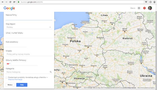 wypęłnienei danych do google maps, marketing lokalny