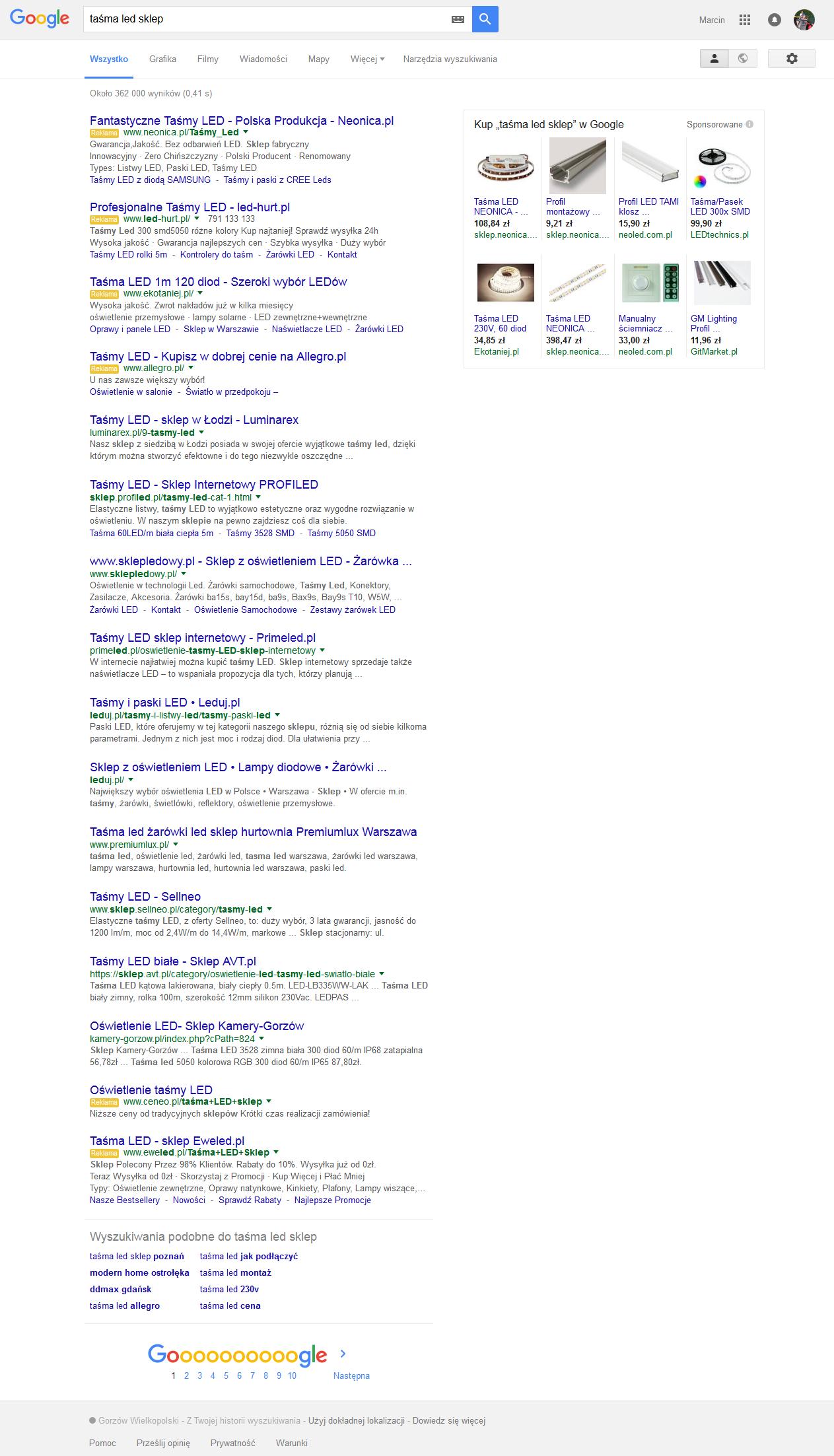 widok wyniku wyszukiwania po zniamach