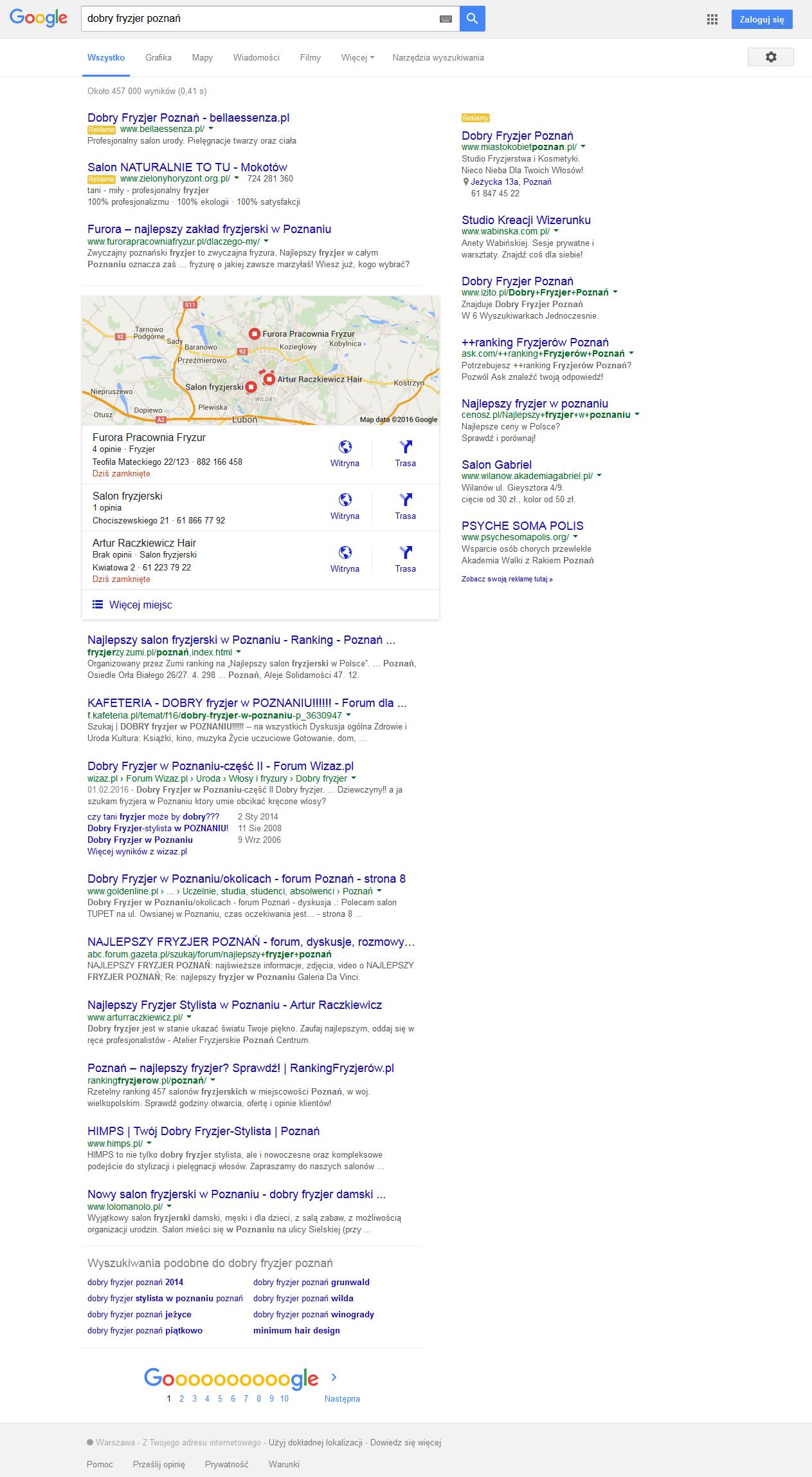 wynik wyszukiwania z reklamami po prawej stronie,